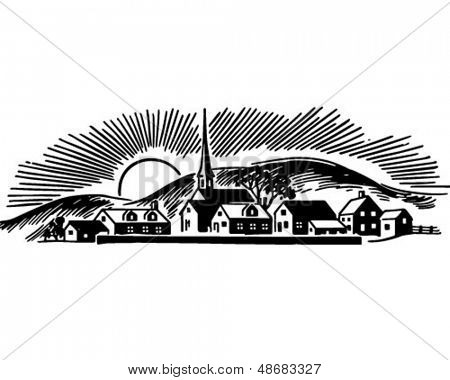 Small Town - Retro Clip Art Illustration
