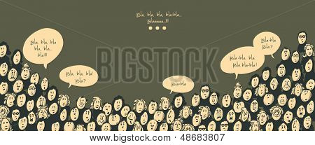 Crowd talking- cartoon characters - dark background