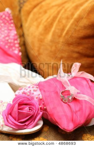 Wedding Shoes And Cushion With Rings