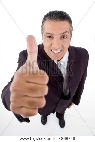 Top View Of Smiling Manager Showing Thumb Up