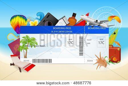 Viajar de avião. Ilustração em vetor conceitual de embarque (bilhete) com equipamento de férias