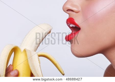 Suggestive Sensual Woman Preparing to Eat a Banana