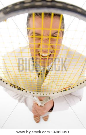 Top View Of Boss Holding Tennis Racket