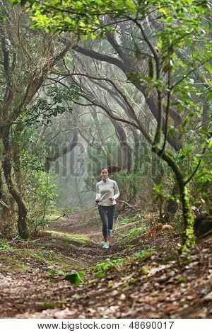 Runnerwoman cross-country running in beautiful forest trail run. Female athlete jogger training outdoor in amazing atmospheric forest nature landscape. Fit female fitness model with healthy lifestyle.