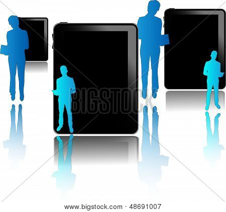 Black tablets with blue businessmen isolated on white background