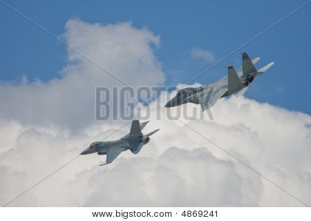 Two Fighter Jets Do A Flyby During An Airshow