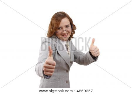 Smiling Businesswoman Showing Thumbs Up On White Background. Ok Sign.