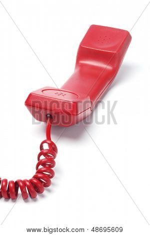Red Telephone Handset Lying On White Background