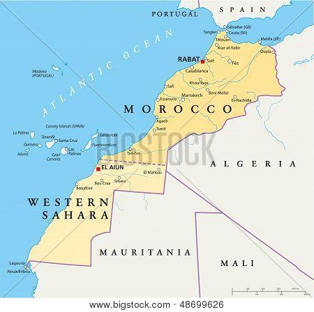 Morocco And Western Sahara Political Map