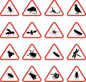 stock photo of pest control  - set of sixteen warning signs of rodents and pests - JPG
