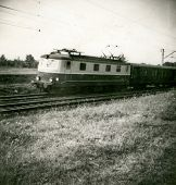 Vintage photo of electric train, fifties