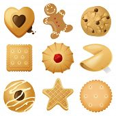 stock photo of gingerbread man  - 9 highly detailed cookies icons - JPG
