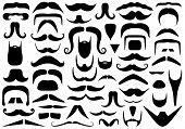 image of shaved head  - Set of different mustaches isolated on white - JPG
