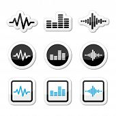 Soundwave muziek vector icons set