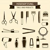 stock photo of barber  - Hairdressing tools and products - JPG