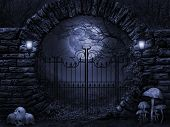 stock photo of art gothic  - Computer graphics scene in a dark gothic style with round stone gate - JPG