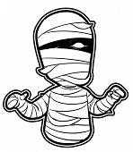 stock photo of walking dead  - black and white clipart Mummy  - JPG