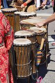 stock photo of penticton  - Drummers playing at a Saturday market Penticton British Columbia Canada