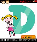 pic of letter d  - Cartoon Illustration of Capital Letter D from Alphabet with Doll for Children Education - JPG