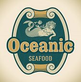 Retro-styled seafood label including an image of mermaid. Editable vector.