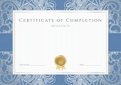 stock photo of deed  - Blue background design of completion with silver scroll - JPG
