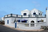 Summer villa near the ocean,Lanzarote, Spain,traditional white village house in Lanzarote