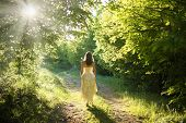 image of fairyland  - Beautiful young woman wearing elegant white dress walking on a forest path with rays of sunlight beaming through the leaves of the trees - JPG