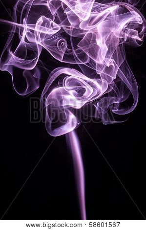 Radiant lavendar smoke on black background