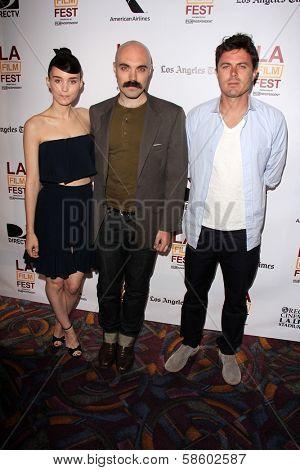 Rooney Mara, David Lowery and Casey Affleck at the