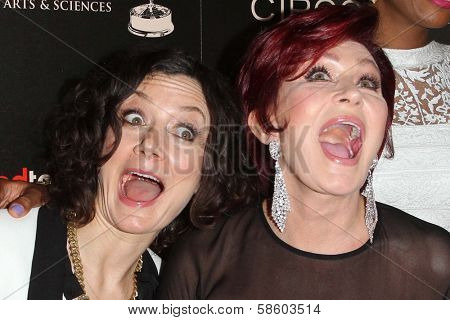 Sara Gilbert, Sharon Osbourne at the 40th Annual Daytime Emmy Awards, Beverly Hilton Hotel, Beverly Hills, CA 06-16-13