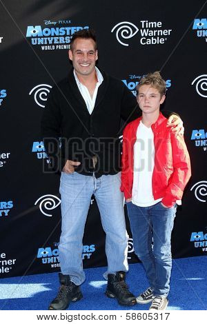 Adrian Pasdar and son at the