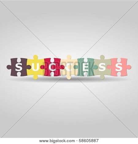 Success Puzzle In Retro Color