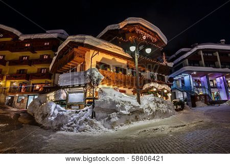 Illuminated Street Of Madonna Di Campiglio At Night, Italian Alps, Italy