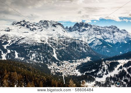 Aerial View On Ski Resort Of Madonna Di Campiglio, Italian Alps, Italy