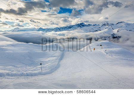 Ski Slope Near Madonna Di Campiglio Ski Resort, Italian Alps, Italy