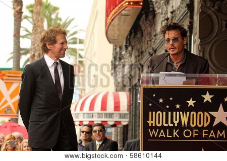 Jerry Bruckheimer and Johnny Depp at the Jerry Bruckheimer Star on the Hollywood Walk of Fame ceremony, Hollywood, CA 06-24-13