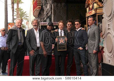John Voight, Gore Verbinsky, Martin Lawrence, Jerry Bruckheimer, Johnny Depp, Tom Cruise and Bob Iger at the Jerry Bruckheimer Star on the Hollywood Walk of Fame ceremony, Hollywood, CA 06-24-13