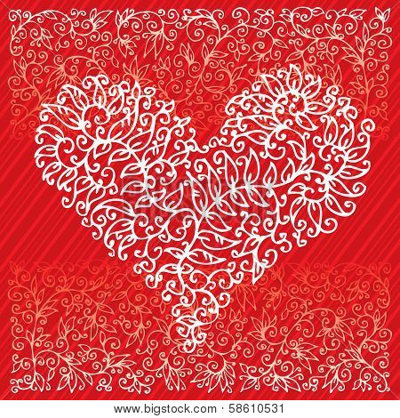 St. Valentine Love Red Heart Card IV