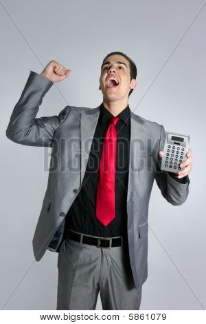 Calculator Give Good Results To Young Businessman