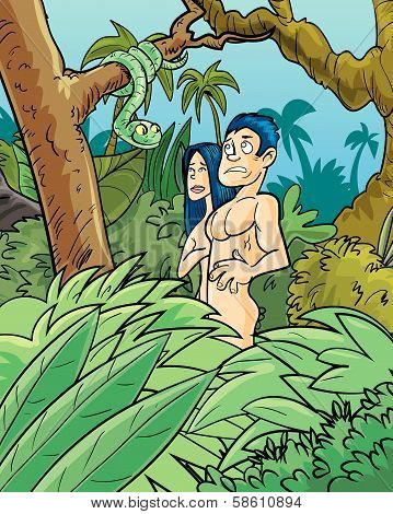 Adam and Eve being tempted by the snake.
