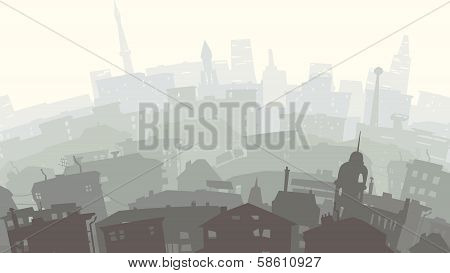 Childish Illustration Of Big City In Sunset.