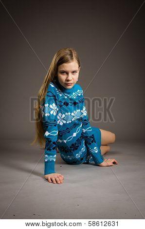 teen girl posing in sweater
