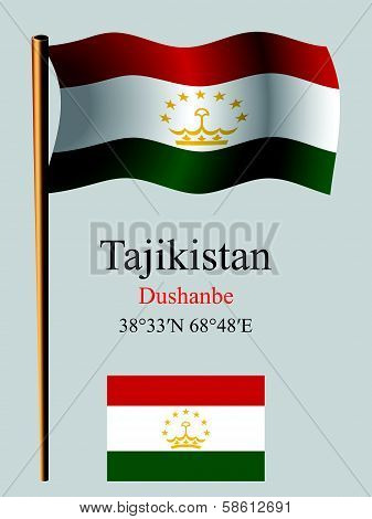 Tajikistan Wavy Flag And Coordinates
