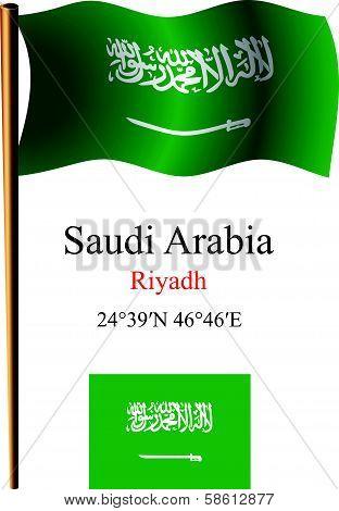 Saudi Arabia Wavy Flag And Coordinates