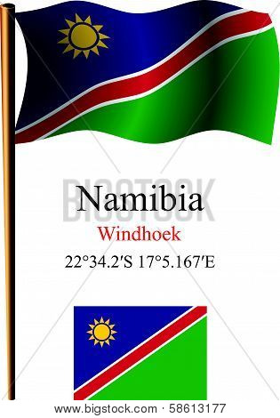 Namibia Wavy Flag And Coordinates