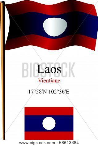 Laos Wavy Flag And Coordinates