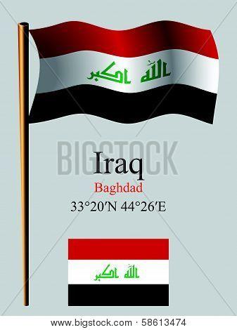 Iraq Wavy Flag And Coordinates