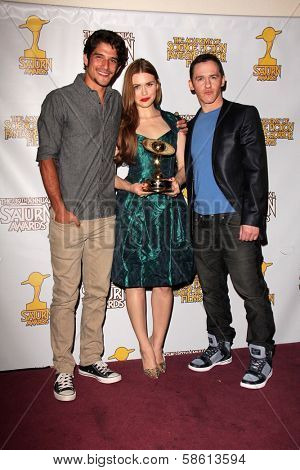 Tyler Posey, Holland Roden and Jeff Davis at the 39th Annual Saturn Awards Press Room, The Castaway, Burbank, CA 06-26-13