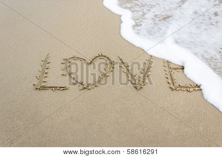 """ Love "" Written On Golden Sandy Beach."