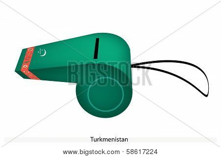 A Beautiful Green Whistle Of Turkmenistan Flag